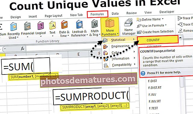 Compteu valors únics a Excel