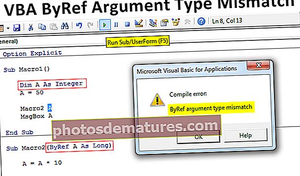 Discrepància del tipus d'argument de VBA ByRef
