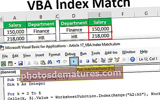 Concordança de l'índex VBA