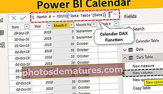 Повер БИ календар