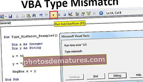 Error de desajustament del tipus VBA
