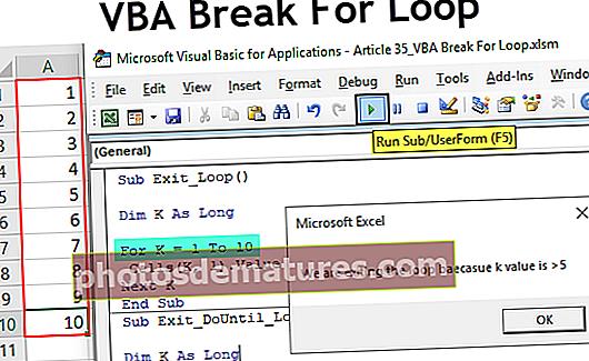 VBA Break For Loop